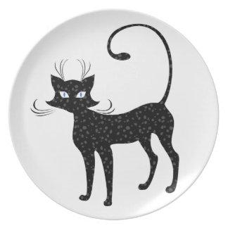 Elegant Spotted Black Cat Plate