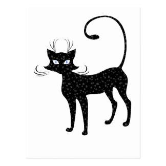 Elegant Spotted Black Cat Postcard