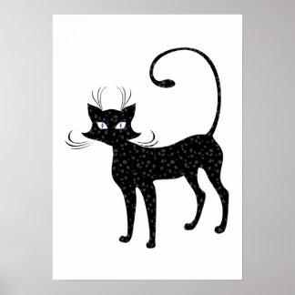 Elegant Spotted Black Cat Posters