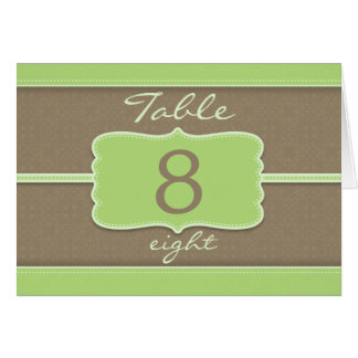 Elegant spring coco mint table number card