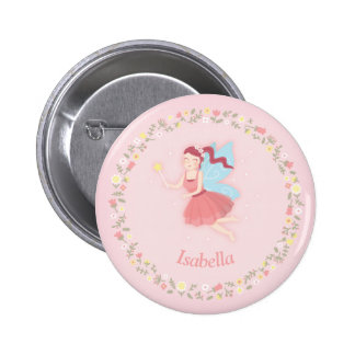Elegant Spring Floral Fairy Girl Pink Name Button