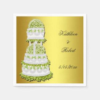 Elegant Spring Floral Wedding Cake Paper Napkins