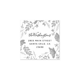 Elegant Spring Floral Wedding Return Address Rubber Stamp