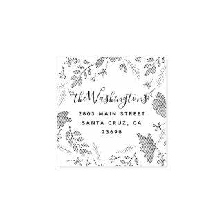 Elegant Spring Floral Wedding Return Address Rubber Stamp