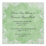 Elegant Spring Green White Floral Damask Post Wedd 5.25x5.25 Square Paper Invitation Card