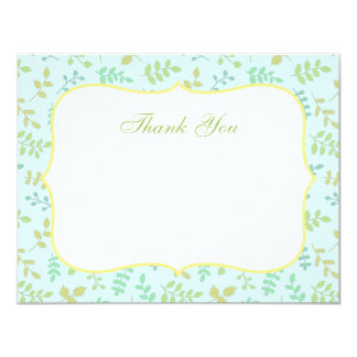 Elegant Spring Leaves Pattern Thank You Note Cards