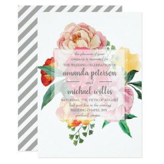 Elegant spring peonies and leaves flowers wedding card