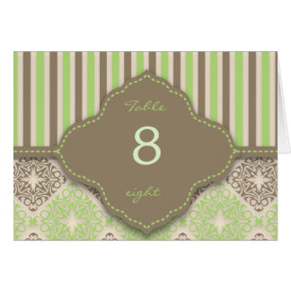 Elegant spring stripe coco mint table number card