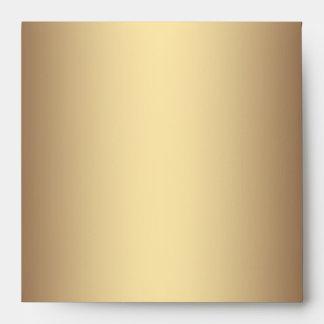 Elegant Square Black Gold Linen Envelopes