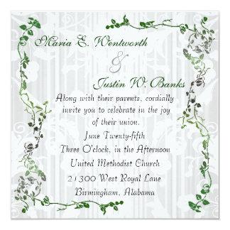 Elegant Square White Damask Wedding Invitation
