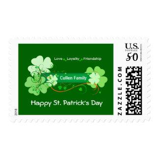 Elegant St. Patrick's Day Postage with Family Name