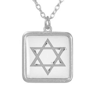elegant star of david square pendant necklace