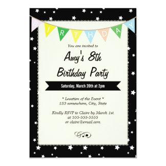 Elegant Star Patterns Black Birthday Invitations