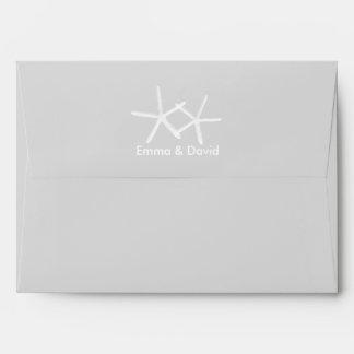 Elegant Starfish Beach Wedding Silver Envelope
