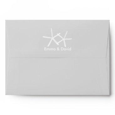 Beach Themed Elegant Starfish Beach Wedding Silver Envelope