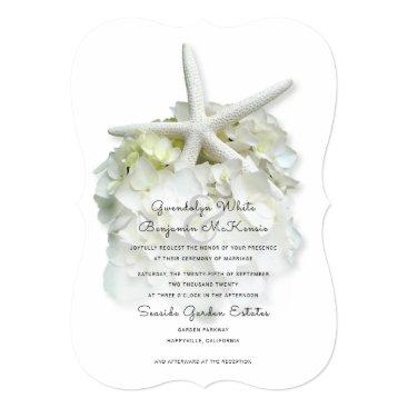 Beach Themed Elegant Starfish White Flower Wedding Invitation
