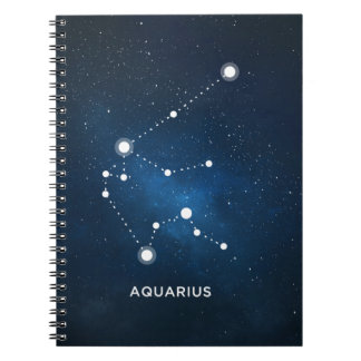 ELEGANT STARRY BLUE WATERCOLOR UNIVERSE - AQUARIUS NOTEBOOK