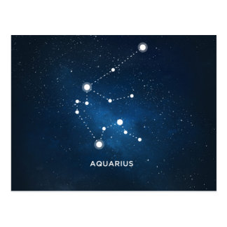 ELEGANT STARRY BLUE WATERCOLOR UNIVERSE - AQUARIUS POSTCARD