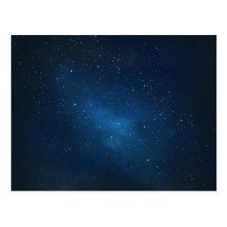 ELEGANT STARRY BLUE WATERCOLOR UNIVERSE POSTCARD