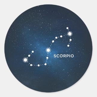 ELEGANT STARRY BLUE WATERCOLOR UNIVERSE - SCORPIO CLASSIC ROUND STICKER