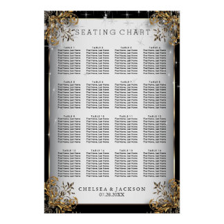 Elegant Starry Night Wedding   - Seating Chart Poster