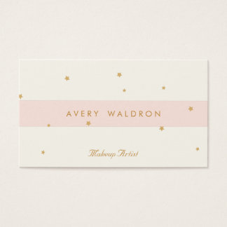 Elegant Stars Light Pink Cream White Makeup Artist Business Card
