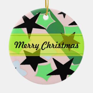 Elegant Stars Double-Sided Ceramic Round Christmas Ornament