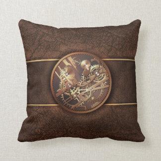 elegant steampunk gears gold brown throw pillows