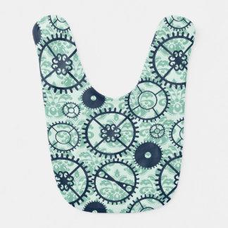 Elegant Steampunk watch gear and damask pattern Baby Bib