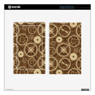 Elegant Steampunk watch gear and damask pattern Decals For Kindle Fire