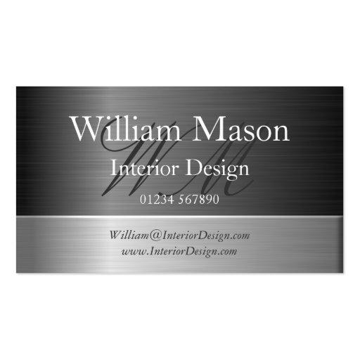 Elegant Steel Effect Monogram Business Card