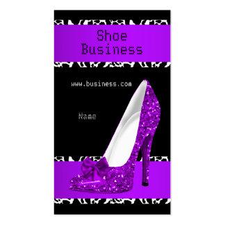 Elegant Stiletto Shoe Purple Black White Business Cards