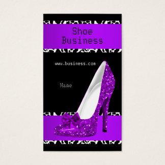 Elegant Stiletto Shoe Purple Black White Business Card