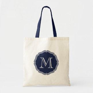 Elegant stock market of monograma navy blue tote bag