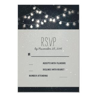 Elegant String Lights Night Stars Wedding RSVP 3.5x5 Paper Invitation Card