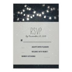 Elegant String Lights Night Stars Wedding RSVP Customized Announcement Card