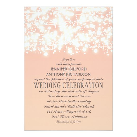 elegant string lights peach wedding invitations zazzle com
