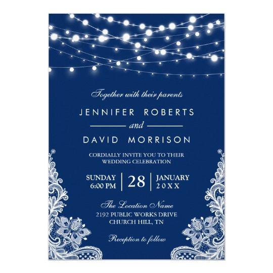 Elegant String Lights White Lace Navy Blue Wedding Card Zazzlecom