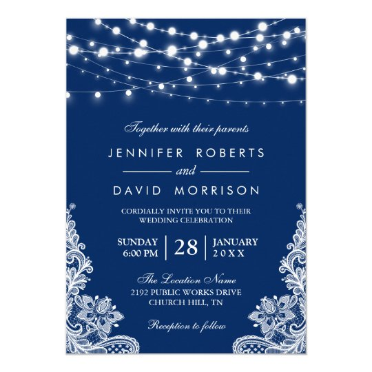 Elegant String Lights White Lace Navy Blue Wedding Card Zazzle.com