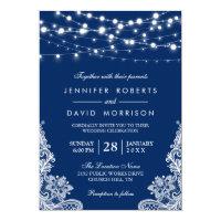 Elegant String Lights White Lace Navy Blue Wedding Invitation