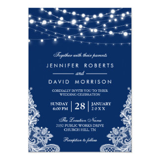 Elegant String Lights White Lace Navy Blue Wedding Invitation