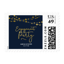 Elegant Strings of Lights Blue Engagement Party Postage
