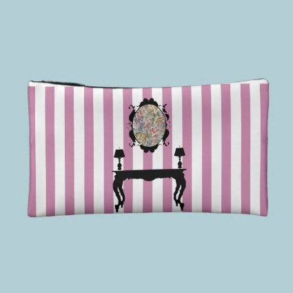 Elegant Stripe Design Cosmetic Bag