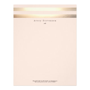Elegant Striped Faux Gold And Pink Letterhead at Zazzle