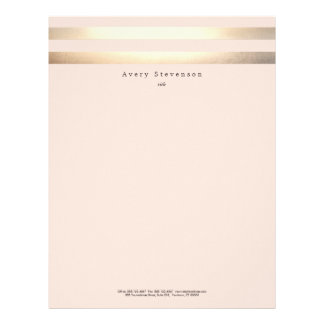 Elegant Striped FAUX Gold and Pink Letterhead