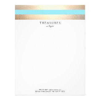 Elegant Striped FAUX Gold Turquoise Blue Letterhead