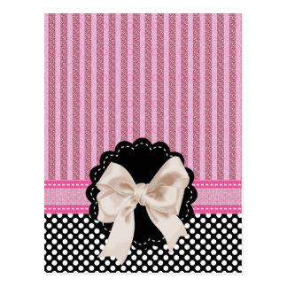 Elegant Striped Pink Lace & Black Polkadot Postcard