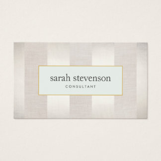 Elegant Striped Silver and Beige Professional Business Card