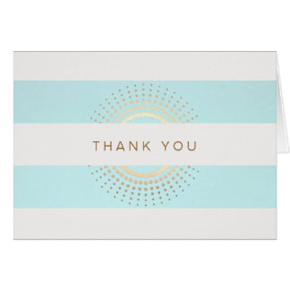 Elegant Striped Turquoise and Gold Circles Card