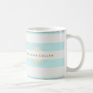 Elegant Striped Turquoise and Gold Circles Coffee Mug